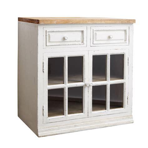 but meuble de cuisine bas meuble bas vitré de cuisine en manguier blanc l 80 cm