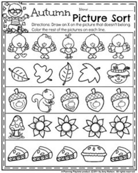 november preschool worksheets planning playtime 998 | Fall Preschool Worksheets for November Autumn Picture Sort. 240x300