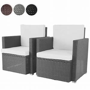 Polyrattan Gartenmoebel Set : 2er set loungesessel aus polyrattan gartenm bel inkl sitzkissen farbwahl schwarz grau oder ~ Markanthonyermac.com Haus und Dekorationen