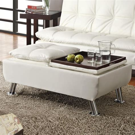 Ottoman Storage White by White Faux Leather Pillow Top Seating Accent Tray