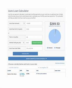 Auto Loan Calculator Free Download Sample Car Loan Calculator Template 8 Free Documents