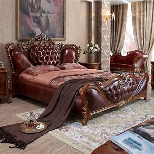 Modern, European, Solid, Wood, Bed, Fashion, Carved, Genuine, Leather, French, Bedroom, Furniture, 10311
