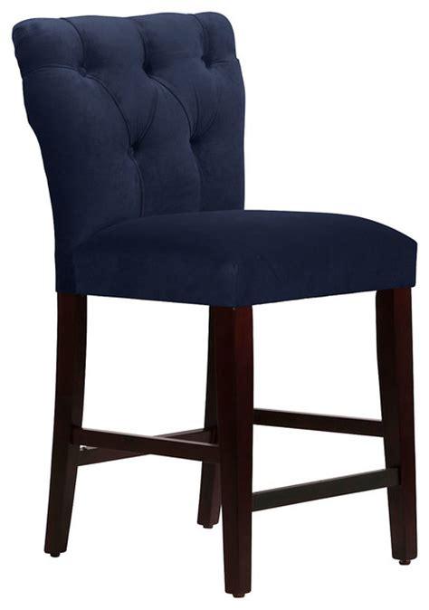 theo tufted stool navy contemporary bar stools and
