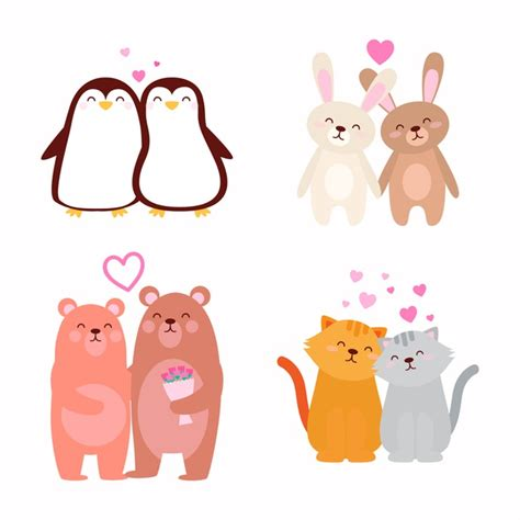 Free icons of couple in various design styles for web, mobile, and graphic design projects. Cute valentine's day animal couple   Free Vector