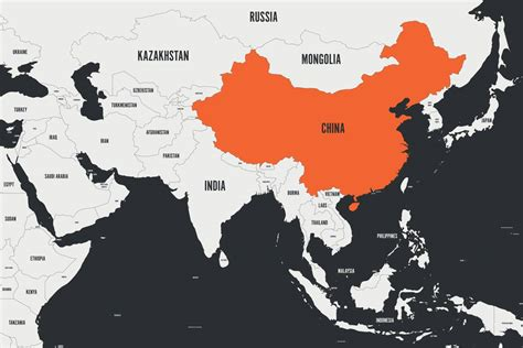china orange marked  political map  southern asia
