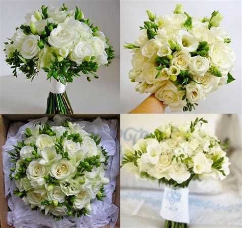 Bonnieprojects Elegant White And Green Wedding Bouquets