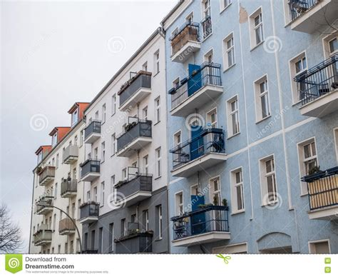 Low Rise Apartment Buildings With Small Balconies Stock