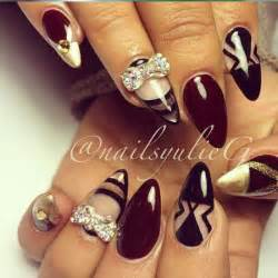 Burgundy and Black Nail Designs