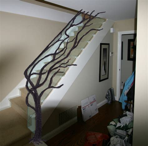 Tree Staircase Railing with Glass   Eclectic   Staircase   other metro   by ArtMetallique.com