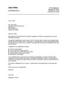 resume cover letter for pilots pilot cover letter sle resumes design