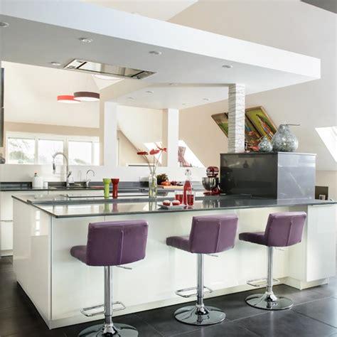 modern kitchen island stools white modern kitchen with purple stools housetohome co uk