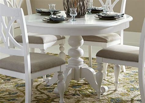 summer house oyster white  pedestal extendable dining