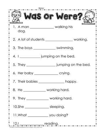 was vs were worksheet 2 worksheets