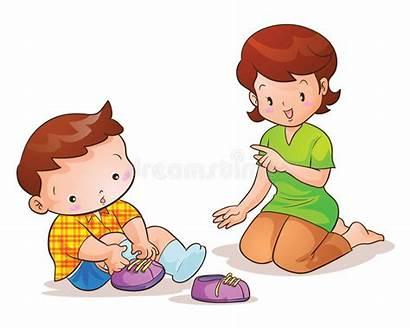 Son Talking Shoes Wearing Mom Vector Wear