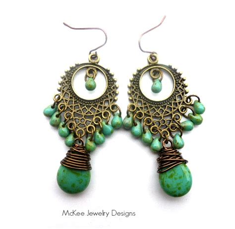 handmade chandelier earrings turquoise green picasso teardrop glass and bronze