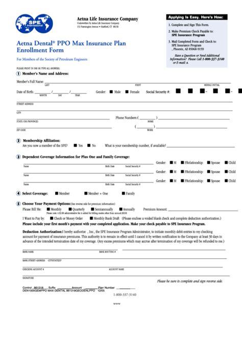 aetna dental ppo max insurance plan enrollment form