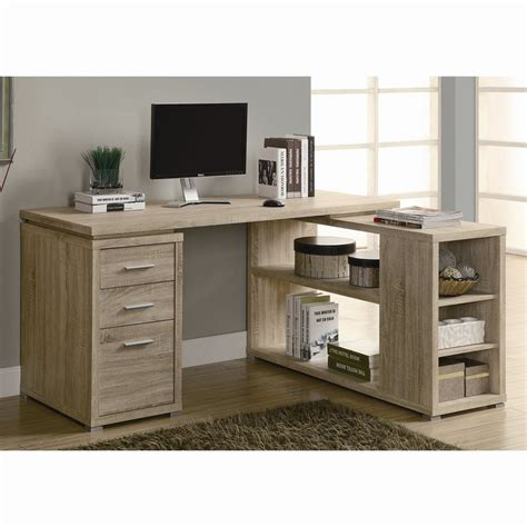 desk l with outlet and organizer shop monarch specialties contemporary natural reclaimed l