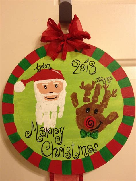 Christmas Hand Print Craft Christmas Pinterest