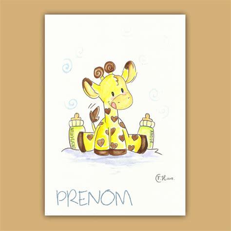 cadre décoration chambre bébé dessin aquarelle bébé girafe et ses biberons sur