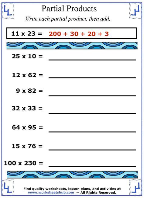 worksheet partial product multiplication worksheets