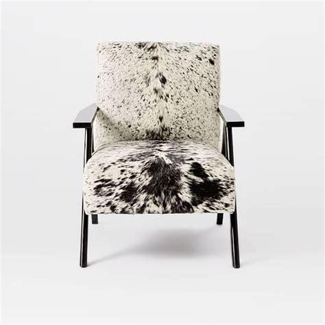 retro cowhide chair black white west elm
