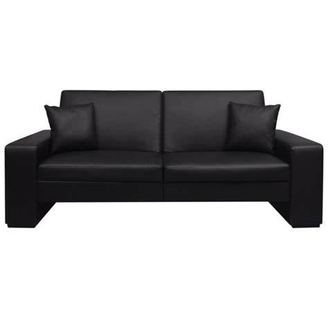 black leather sofa pillows faux leather sofa bed w 2 throw pillows in black buy