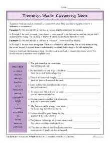 Transitional Words Worksheet Transition Words Worksheet Connecting Ideas