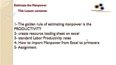 estimate  manpower  create manpower loading sheet