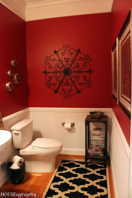 sherwin williams red bay  powder room pinterest