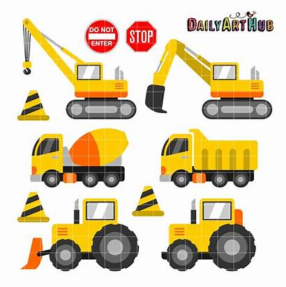 Construction Clipart Equipment Crew Heavy Clip Vehicles