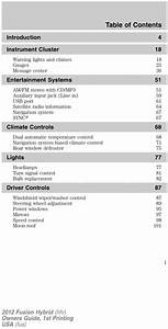 Ford 2012 Fusion Hybrid Operators Owners User Guide Manual