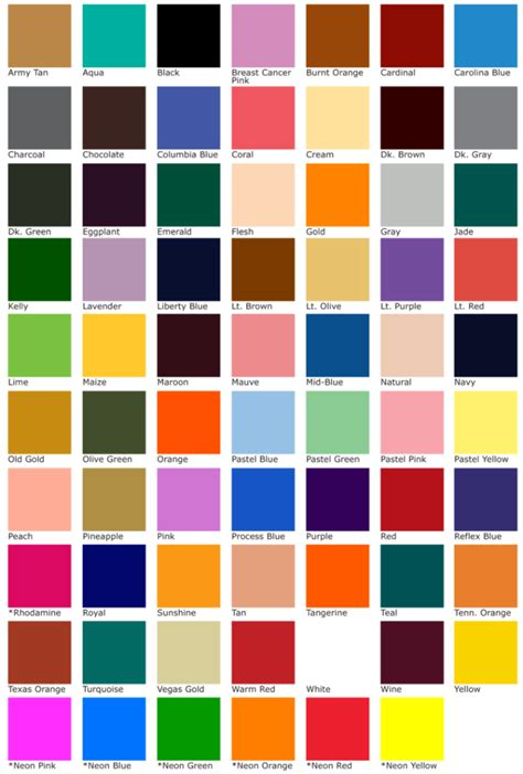 midwest lettering color chart