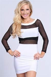 White Black Mesh Two Tone Sexy Party Dress @ Amiclubwear ...