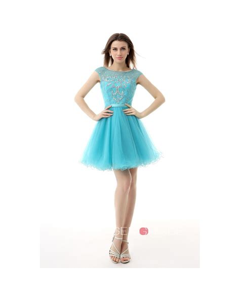 scoop neck short tulle prom dress  appliques lace yh  gemgracecom