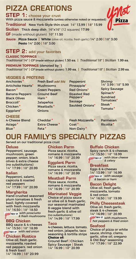 full italian restaurant pizza menu ynot pizza italian cuisine