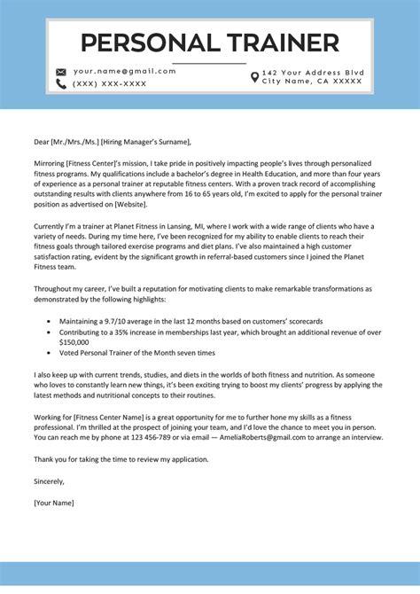 personal trainer cover letter  resume genius