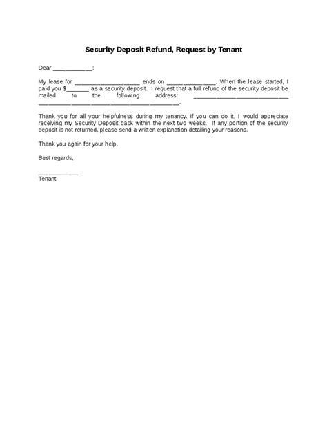 template   security deposit refund request