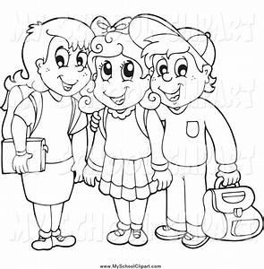 school children clipart black and white 7 | Clipart Station