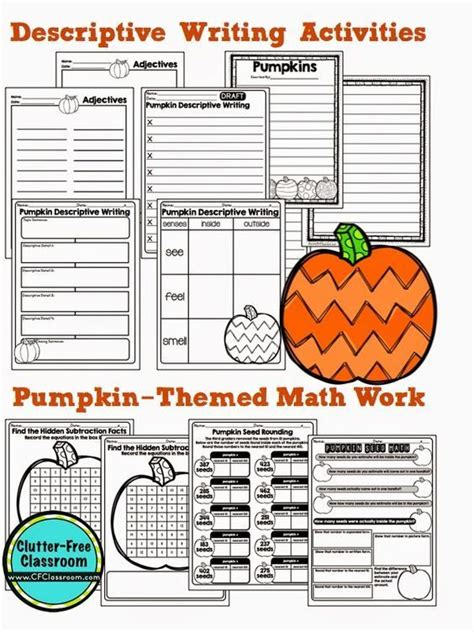 free printable pumpkin activties for math and writing