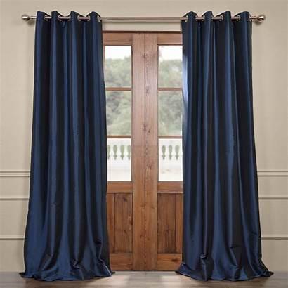 Navy Curtain Silk Grommet Blackout Curtains Taffeta