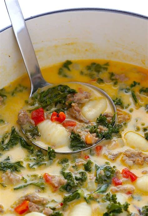 Olive Garden Sausage Soup - 7 ingredient zuppa toscana gnocchi soup with