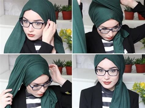tutorial hijab semi turban  wanita berkacamata