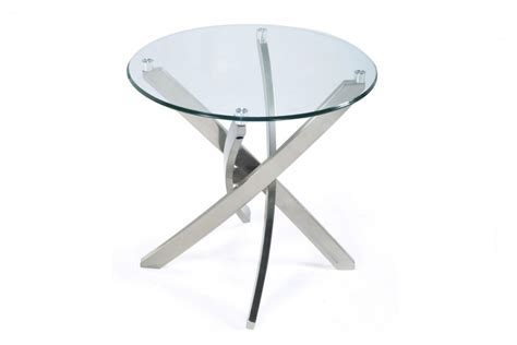 brushed nickel table ls brushed nickel and glass end table at gardner white