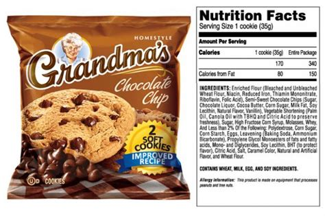 Start from $10 per month Grandma cookies nutrition facts