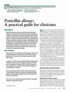 Pdf  Penicillin Allergy  A Practical Guide For Clinicians