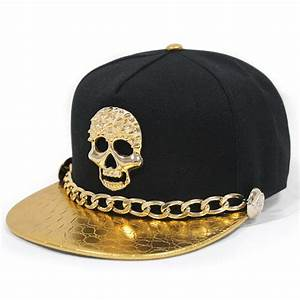 2015 New West Unisex Punk Leather Snapback Hat With Gold ...