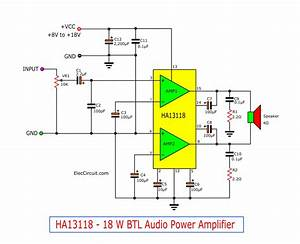 18w Bridge Amplifier Circuit Using Ha13118