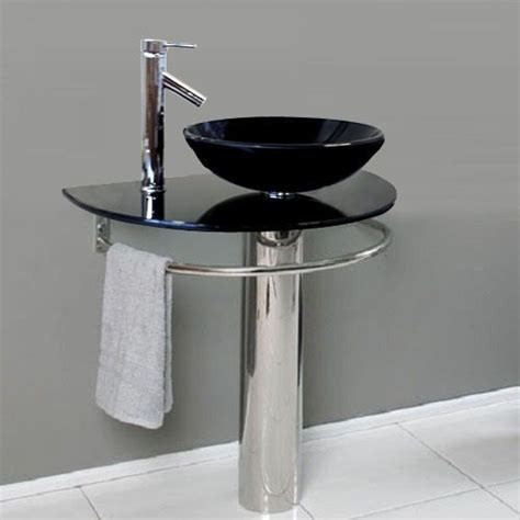 bathroom pedestal tempered black glass vessel sink vanity faucet xdblk fanoria