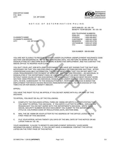 edd appeal letter sample commendation