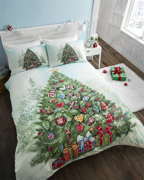 father christmas tree santa duvet quilt cover bedding set